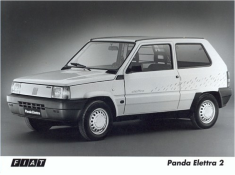 Fiat Panda Elettra press photo. The car was introduced in 1990 but its weight (1150 kg) did not make of it an interesting option as it was moved by only 19 HP