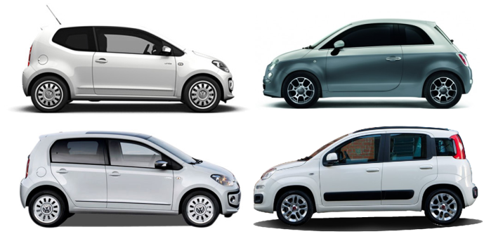 VW Up! 3-5D against Fiat 500 and Panda