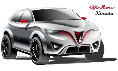 Alfa Romeo Xtrada 3/4 Front View. Rendering by: Juan Felipe Muñoz-Vieira, all rights reserved.