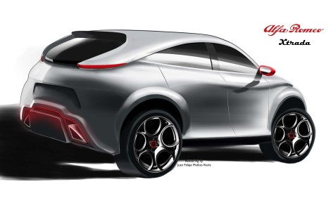 Alfa Romeo Xtrada 3/4 Rear View. Rendering by: Juan Felipe Muñoz-Vieira, all rights reserved.
