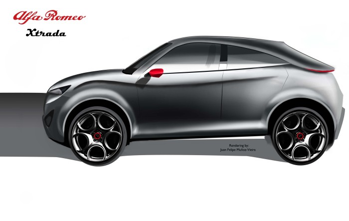 Alfa Romeo Xtrada Side View. Rendering by: Juan Felipe Muñoz-Vieira, all rights reserved.