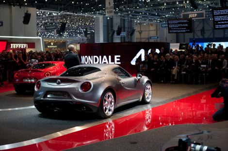 Harald Wester, head of Alfa Romeo, shows the 2 awesome Alfa Romeo 4C