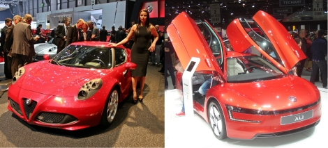 Geneva 2013 is a good example. VW's rock star was the XL1, a 3.88 m long hybrid coupe with the latest technology to become a referent of efficiency for future cars. Weight: 795 kg; CO2 emissions: 24 g/km. Fiat group's main event was the presentation of the Alfa Romeo 4C: the lightest entry sporty car available with 4 hp/kg. VW points on fuel efficiency. Fiat points on efficiency for fun. Two body languages, two different messages. Two different worlds. Source: Wikipedia
