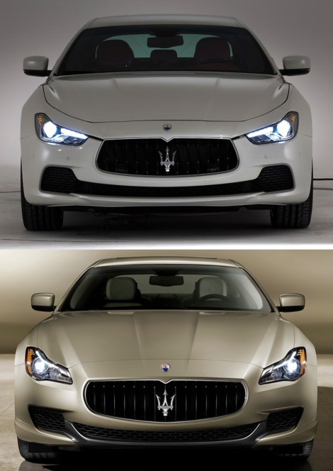 Maserati Ghibli (top) vs. Maserati Quattroporte. The Ghibli looks more agressive as it is suposed to be more sporty.