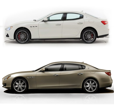 Maserati Ghibli (on top) and Maserati Quattroporte. The first one will be positioned in E-Segment for those looking for a premium and sporty sedan. The Quattroporte is intended to be the extra luxury car for those looking for comfort.