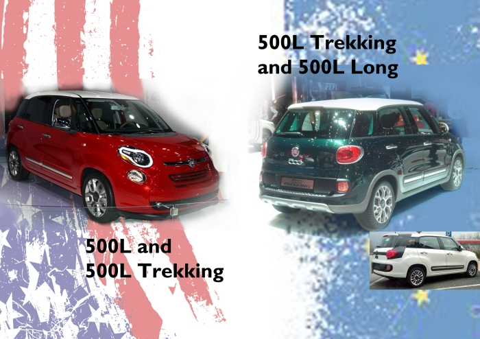 USA will receive the 500L and 500L Trekking starting at $19.100 for the Pop version with 160 hp and 6 manual speed gearbox. At the same time Fiat will introduce the 500L Trekking in Europe starting at 19.650 euros with 95 hp. The 500L for 7 passenger will also make its debut but official presentation may take place in Frankfurt 2013. Unfortunately the US version of the 500L will initially be offered with manual gear box and only one version with automatic transmission. This won't help to have big sales. Photo by Autoitalia.nl, fiat500usa.com, and me.