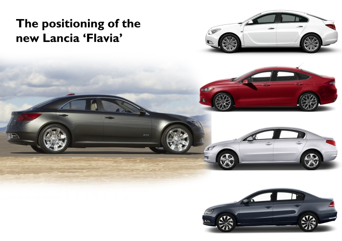 I used the image of the 200C EV Concept to illustrate how the new Lancia Flavia should be positioned. It should be the rival of the mainstream options that rule in Europe: Opel Insignia, Ford Mondeo, Peugeot 508, and VW Passat. It shouldn't compete with Audi A4, BMW 3-Series, or Mercedes C-Class.