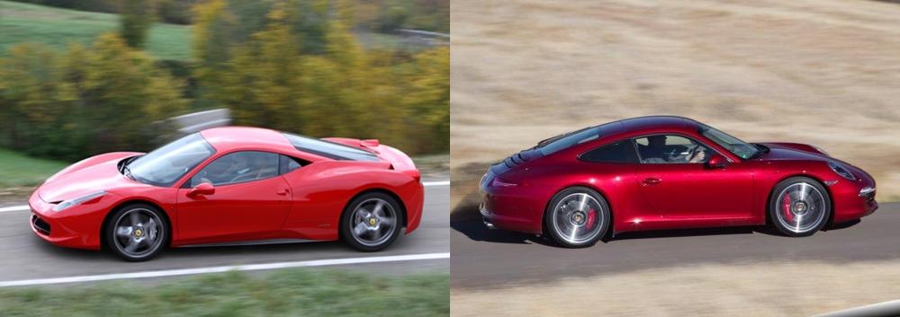 Ferrari 458 Italia vs Porsche 911 4