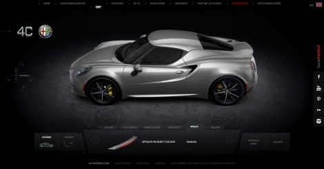 The 360 Customizer is another hot feature of the 4C car configurator. The car can be configurated from many angles.