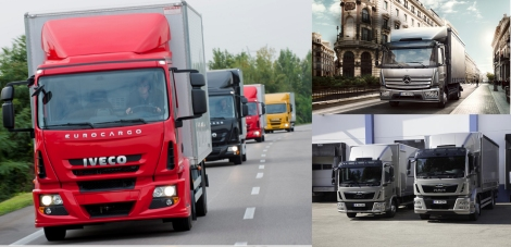Iveco Eurocargo (left) vs. Mercedes-Benz Atego (right top) and MAN TGL (right bottom). They all make part of the Medium LCV segment.