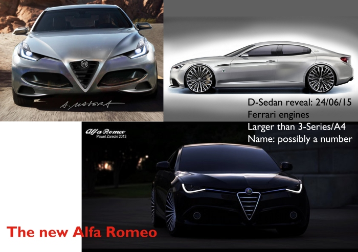 Many articles and renderings have been done referred to the new Alfa Romeo sedan. These are just some examples of how the car could look like.