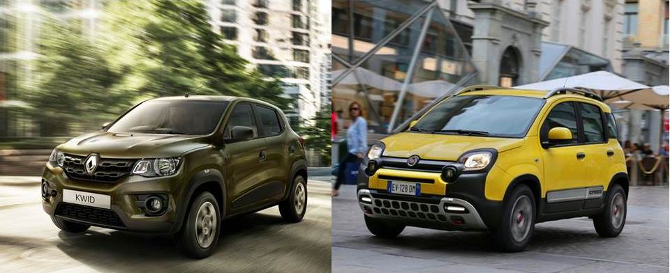 The Renault Kwid and the Fiat Panda Cross. The same idea, the same segment in different markets and targets. The Kwid will be priced starting at 4.000 euros vs. 20.000 euros for the Panda Cross.